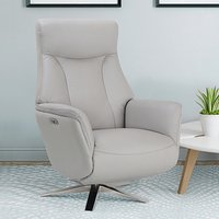 Hendon Leather Match Electric Swivel Recliner Chair In Platinum