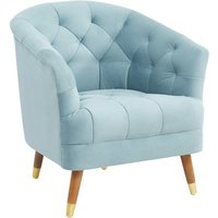 Product photograph showing Hensley Velour Fabric Armchair In Blue With Oak Legs