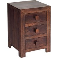 Henzler Wooden Bedside Cabinet In Dark With 3 Drawers