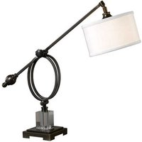 Henzler Table Lamp In White Linen With Dark Bronze Metal Base