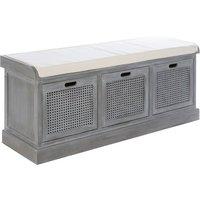 Heritox Wooden 3 Drawers Hallway Storage Bench In Slate Grey