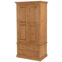 Herndon Wooden Double Door Wardrobe In Lacquered With 3 Drawers