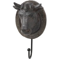 Product photograph showing Hernia Resin Cow Head Coat Hook In Brown