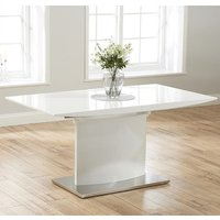 Product photograph showing Heydan Extending Wooden Dining Table In White High Gloss