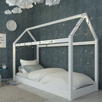 Hickory Wooden Single House Bed In White