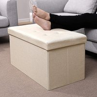 Product photograph showing Hidalgo Linen Fabric Folding Storage Ottoman In Beige