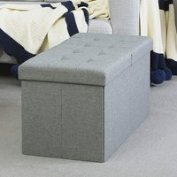 Product photograph showing Hidalgo Linen Fabric Folding Storage Ottoman In Grey