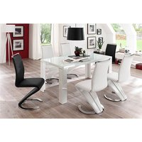 Tizio Glass Top Dining Table High Gloss With 6 Summer Chairs
