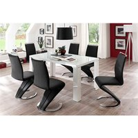 Tizio Glass Top Dining Table In High Gloss With 6 Black Chai