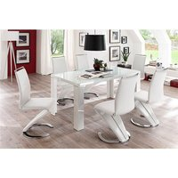 Tizio Glass Top Dining Table In High Gloss With 6 White Chai