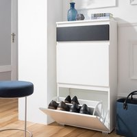 image-Hilary Shoe Cabinet In White And Anthracite With 2 Flap Doors