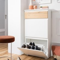 image-Hilary Shoe Cabinet In White And Oak With 2 Flap Doors