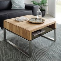Product photograph showing Hilary Wooden Coffee Table In Knotty Oak With Glass Shelf