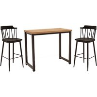 Product photograph showing Hinrik Wooden Bar Table With 2 Blake Bar Stools In Black Elm