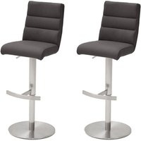 Hiulia Anthracite Bar Stool With Stainless Steel Base In Pair
