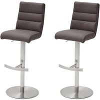 Hiulia Brown Bar Stool With Stainless Steel Base In Pair