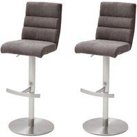 Hiulia Brown Fabric Bar Stool With Steel Base In Pair