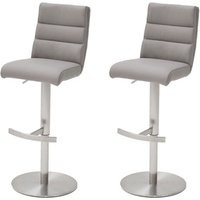 Hiulia Ice Grey Leather Bar Stool With Steel Base In Pair