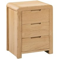 Marne Wooden Bedside Cabinet In Oak With 3 Drawers