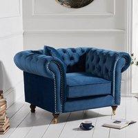 Holbrook Chesterfield Sofa Chair In Blue Velvet