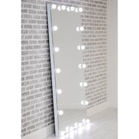 Hollywood Floor Dressing Mirror With White High Gloss Frame