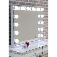 Hollywood Landscape Dressing Mirror With White High Gloss Frame