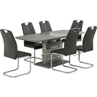Product photograph showing Holmes Extendable Glass Dining Table In Matt Grey And 6 Chairs