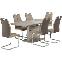 Product photograph showing Holmes Extendable Glass Dining Table In Matt Latte And 6 Chairs