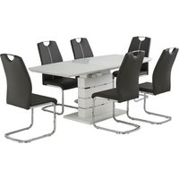 Product photograph showing Holmes Extendable Glass Dining Table In Matt White And 6 Chairs
