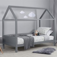 Home Wooden Single Bed In Grey