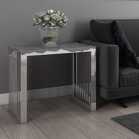 Product photograph showing Horizon Clear Glass Side Table With Stainless Steel Frame