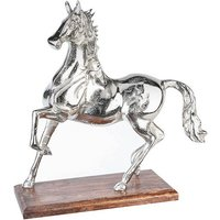 Product photograph showing Horse Sculpture In Antique Aluminium With Brown Wooden Base