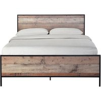 Hoston Double Size Bed In Distressed Oak Finish
