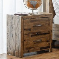 Hoxton Bedside Cabinet In Rustic Oak With 2 Drawers