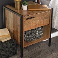 Hoston Wooden Bedside Cabinet In Distressed Oak