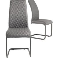 Product photograph showing Hudson Grey Faux Leather Dining Chairs In Pair