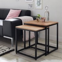 Product photograph showing Humber Wooden Nest Of 2 Tables Square In Knotty Oak