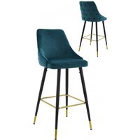 Product photograph showing Hunter Green Velvet Bar Stools In Pair