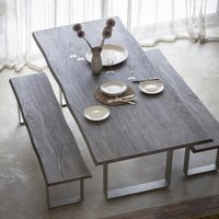 Huntington Wooden Dining Table In Grey With Metal Stand