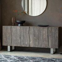 Huntmon Wooden 3 Doors Sideboard In Dark Oak