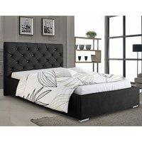 Hyannis Plush Velvet Single Bed In Black