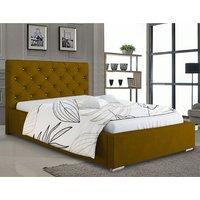 Hyannis Plush Velvet Single Bed In Mustard