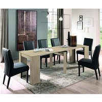 Iconic Extending Elm Oak Wooden Dining Table With 6 Miko Chairs