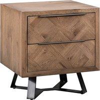Idaho Wooden 2 Drawers Bedside Cabinet In Aged Grey Oak