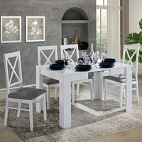 Idea Extending White Gloss Dining Table With 4 Drent Chairs