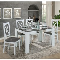 Idea Extending White And Grey Gloss Dining Table 4 Drent Chairs