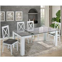 Idea Extending White And Grey Gloss Dining Table 6 Drent Chairs