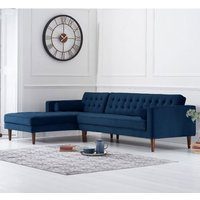 Product photograph showing Idriana Velvet Left Facing Corner Chaise Sofa In Blue
