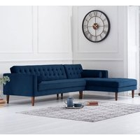 Product photograph showing Idriana Velvet Right Facing Corner Chaise Sofa In Blue