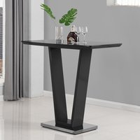 Product photograph showing Iko High Gloss Bar Table In Black With Stainless Steel Base